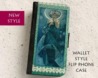 iPhone Case (all models) - Art Nouveau - Alphonse Mucha - Claire De Lune - wallet flip case -  Galaxy S4,S5,S6,S7,S8,S8Plus & more