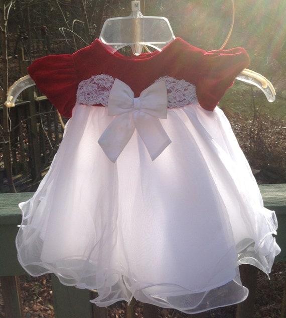 selten zu baby m dchen 1 weihnachten kleid wei en roten. Black Bedroom Furniture Sets. Home Design Ideas