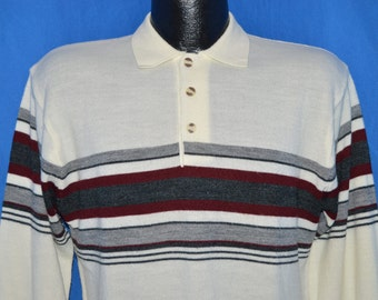 70s Off White Striped Vintage Polo Sweater Medium