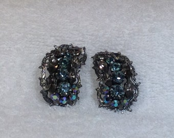 Blue and Black Diamond Austria Earrings