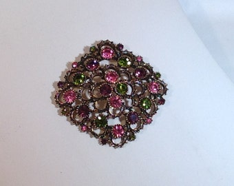 Purple Green and Pink Sarah Coventry Brooch