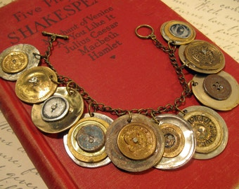 Smashed Vintage Metal Button Charm Bracelet ***FREE SHIPPING***