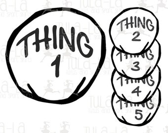 Thing 1 Iron-on Transfer (Numbers 1-12 available)