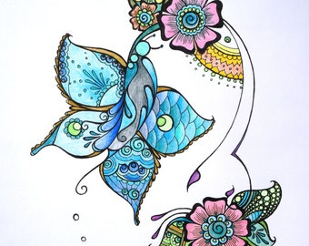 Henna Butterfly - Blue