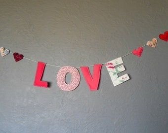 Love and hearts fabric banner