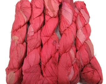 SALE 50g Recycled Sari Silk Ribbon, Coral