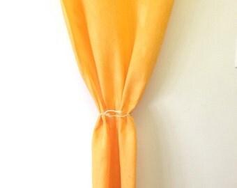 100% linen curtain orange
