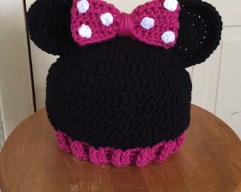 Crocheted Minnie Mouse Hat with Ears & Bow