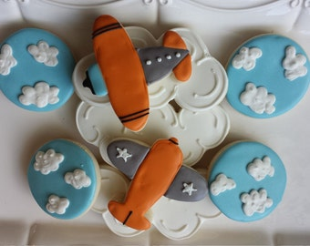 Airplane sugar cookies, airplane and clouds, travel sugar cookies, airplane baby shower, birthday cookies