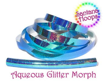 Aqueous Color Shifting Morph Taped Performance Hula Hoop Polypro or HDPE Holo Glitter