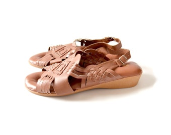 Huarache Sandal, 8 Leather sandal, comfort sandal, Vintage Huarache, Brown Huarache, Vintage Sandal, Comfort Sandal