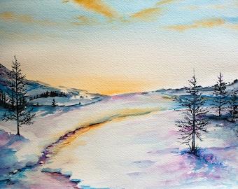 Original Winter Landscape 1 Painting 9x12