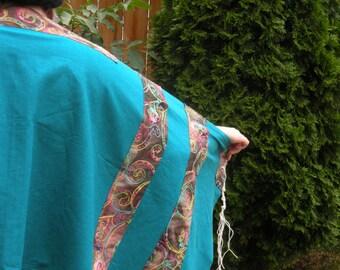 bluegreen linen womens tallit with matching kippah,  batik contrast fabric with raised stitching