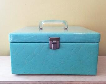 Mid Century Selwell Turquoise Blue Train Case Overnight Case