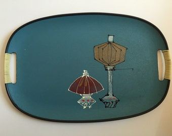 Mid-Century Composite Tray with Hand Painted Design - Lanterns