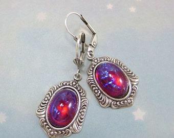 Mexican Opal Earrings Dragon's Breath Earrings Fire Opal Earrings Dangles Victorian