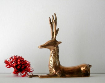Brass Deer, Reindeer Figurine, Christmas Decor, Brass Reindeer