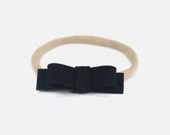 Suede Headband, Black Headband, Small Headband, Small Baby Headband, Small Bow, Newborn Black Headband, Simple Baby Headband, Black Suede