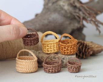Miniature crochet basket with handle fairy garden dollhouse miniature CHOOSE ONE amigurumi fruit basket humper basket collectable