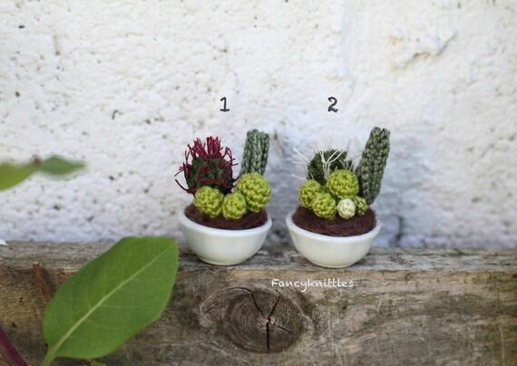 dollhouse miniature plant crochet cacti succulent composition. Black Bedroom Furniture Sets. Home Design Ideas