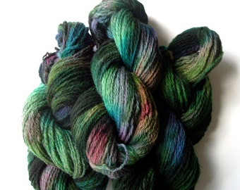 Handpainted yarn, hand dyed Clun Forest yarn, hand painted wool worsted yarn,  handdyed yarn, 2 oz., 145 yds.