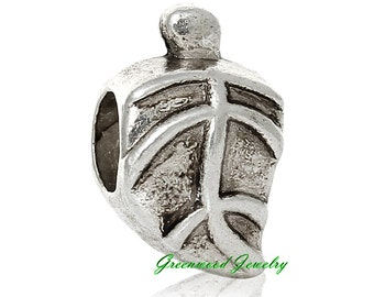 European Charm Bead For All Large Hole Charm Bracelet And Necklace Chain. Leaf-Leaves- 9x14mm