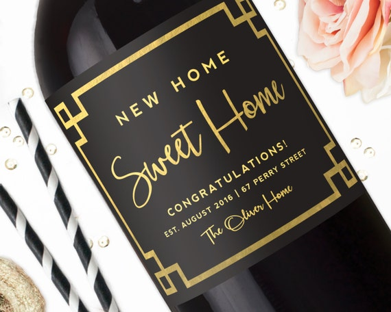 New Home Sweet Home Gold Housewarming Gift Wine Label