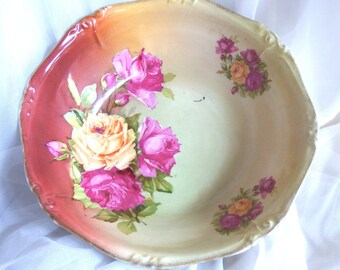 Porcelain Cabinet Bowl with Burgundy and Peach Roses