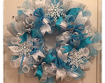 Frozen Snowflake Turquoise and Silver Deco Mesh Wreath/Frozen Wreath