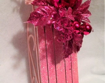 Pink Christmas pink sled hanging or shelf decoration