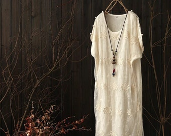 Woman off white lace linen dress chinese buttons