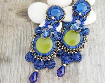 Long royal blue earrings, stud soutache earrings, royal blue embroidered earrings, soutache jewelry, long beaded earrings