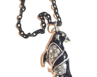 Penguin, penguin necklace, rhinestone penguin, penguin pendant