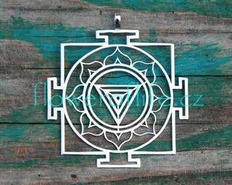 Kali Yantra pendant (1 3/4 x 2 inch) - Stainless Steel