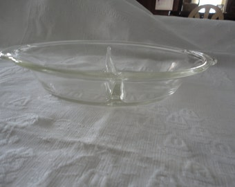 Fire King Clear Glass Divided Serving Dish Vintage Ovenware # 468