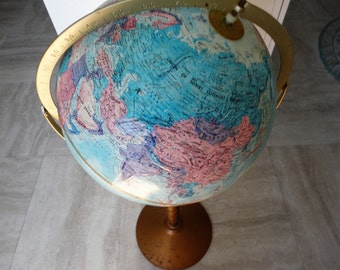 Vintage Replogle World Nation Series Standing Floor Globe Brushed Metal Stand