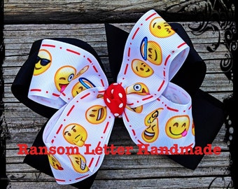 Large Black Yellow Emoji Hair Bow Happy Face Nerd Birthday Party Decorations Outfit Emoji Gift Invitations Party Emoticons Emotions Faces
