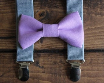 Bowtie & Suspenders- Pansy/Gray