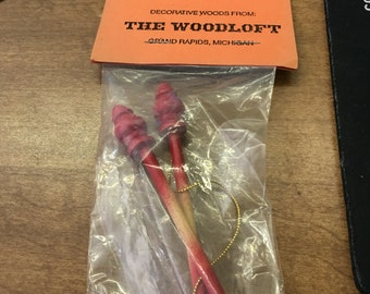 Decorative wood from the woodloft: 3 inch bell pull -RED