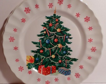 Christmas, tree, Vintage, Christmas, 1950s, Christmas Decoration, Santa cookie plate, antique, shiny bright, 1960s, Serving plate, Nostalgic