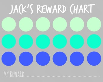 Reward Chart: Blue Dot Chart Personalized with Child's Name