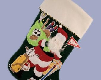 Personalized Christmas Stocking - Sports Santa