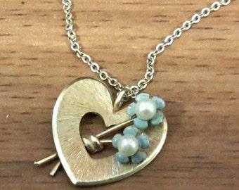 Pretty Krementz GF Heart Pendant Necklace