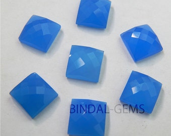 15 Pieces Lot Blue Chalcedony Square Shape Checker Cut Loose Gemstone