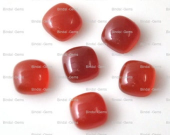 10 Pieces Wholesale Lot Red Onyx Cushion Shape Cabochon Gemstone For Jewelery