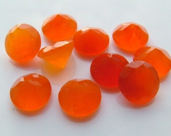 25 Pieces Lot Carnelian Round Shape Faceted Cut Loose Gemstone