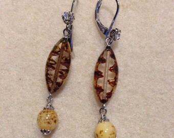 Czech Glass beads earrings , for Easter