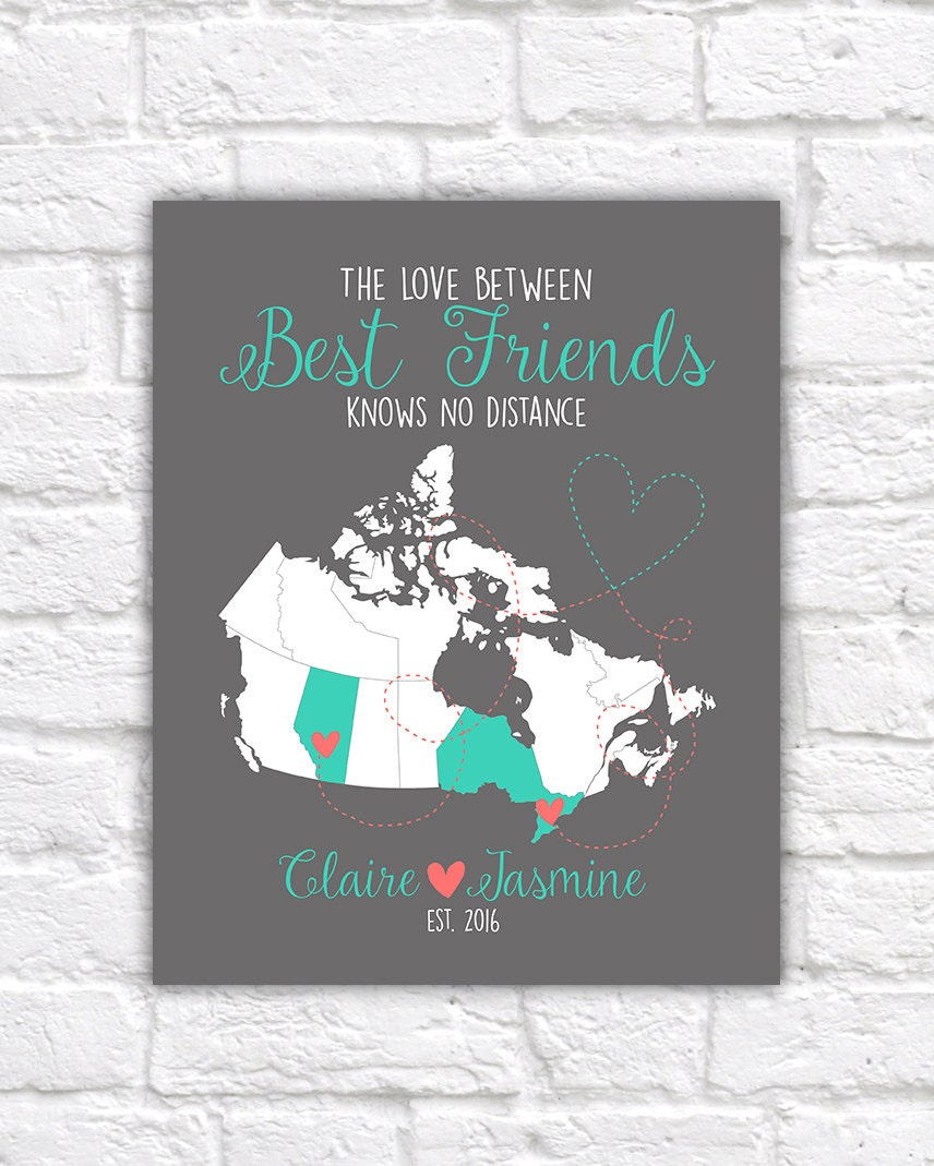 Canada Map Best Friend Gift Canadian Provinces Ontario Alberta