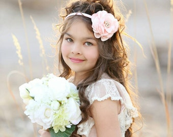 Flower girl headband pink, flower girl hair accessories, hair piece, girls headband, flower girl headband rhinestone, wedding headpiece