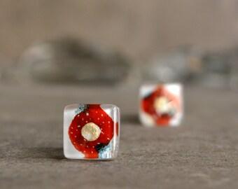 Unique earrings, Glass studs, Artisan jewelry, OOAK, Handmade earrings, Red earrings, Sterling silver post earrings, Art jewelry